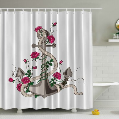 Netzer Roses Print Shower Curtain