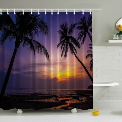 Palm Tree Beach at a Sunset Print Shower Curtain
