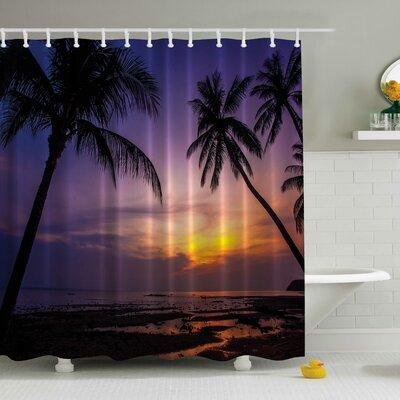 Palm Tree Beach at a Sunset Print Shower Curtain