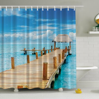 Tropical Paradise Pier Print Shower Curtain