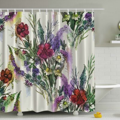 Bouquet of Watercolor Flowers Print Shower Curtain