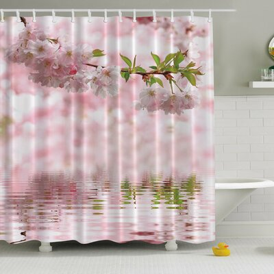 Cherry Blooms Print Shower Curtain