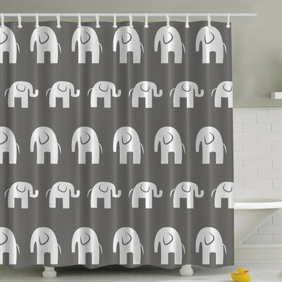 Big Elephant Small Elephant Print Shower Curtain