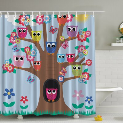 Owl Friends Tree Print Shower Curtain