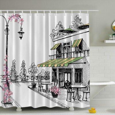 European Caf� Print Shower Curtain