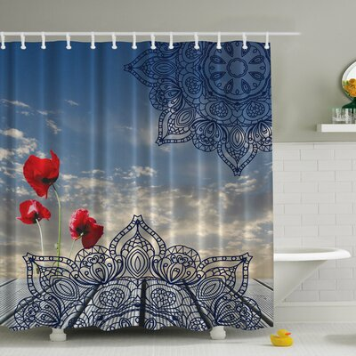 Poppies and the Sky Print Shower Curtain