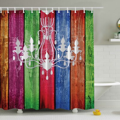 French Chandelier on Wood Plank Print Shower Curtain