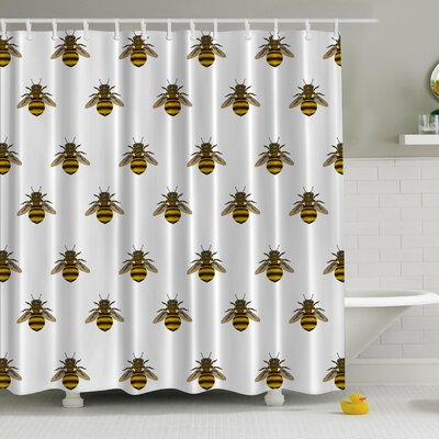 Honeybees Aligned Print Shower Curtain