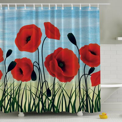 Poppies Underneath the Sky Print Shower Curtain
