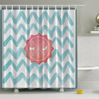 His and Her Bathroom on Chevron Print Shower Curtain