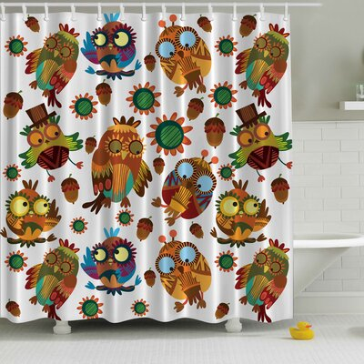 Owl Friends Print Shower Curtain