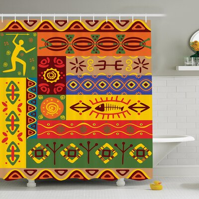 Jodie Ethnic Tribal Shower Curtain Size: 75 H x 108 W