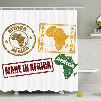Jodie Grunge Stamps Shower Curtain Size: 70 H x 108 W