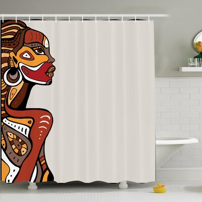 Mclean Hand Drawn Woman Shower Curtain Size: 70 H x 108 W