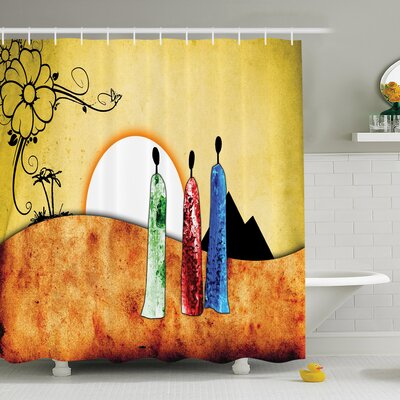 Jodie Tribe Facing Sunrise Shower Curtain Size: 84 H x 108 W
