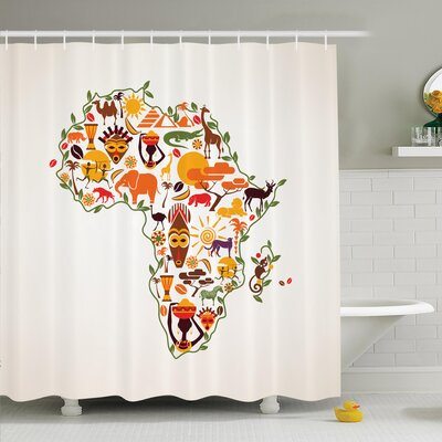 Jodie Ethnic Arts Travel Map Shower Curtain Size: 70 H x 108 W