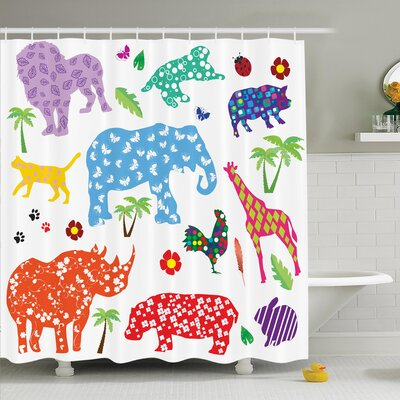 Virgil Wild Animals Shower Curtain Size: 75 H x 108 W