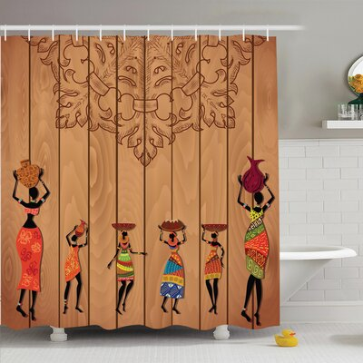 Jodie Aboriginal Girls Shower Curtain Size: 70 H x 108 W