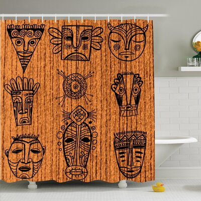 Jodie Tribal Native Masks Shower Curtain Size: 84 H x 108 W