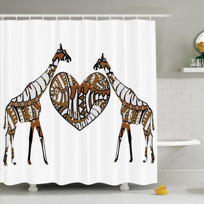 Giraffe Soul Mate Shower Curtain Size: 84 H x 108 W