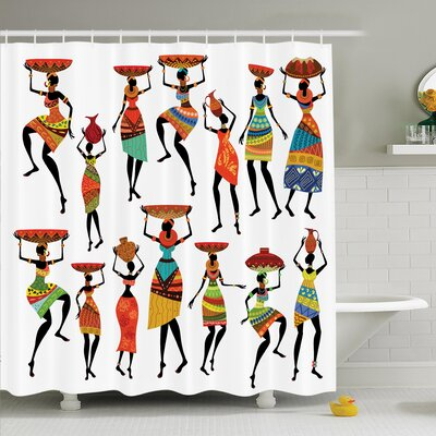 Jodie Tribal Women Figures Shower Curtain Size: 70 H x 108 W