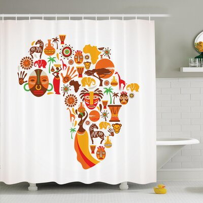 Jodie Tribal Icons Map Shower Curtain Size: 84 H x 108 W