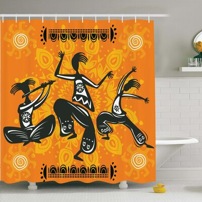 Jodie Tribal Native Dancer Shower Curtain Size: 70 H x 108 W