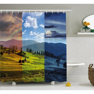 Pastoral Village Rural Field with Rainbow Moon Sun Countryside Grassland Shower Curtain Set Size: 70 H x 69 W