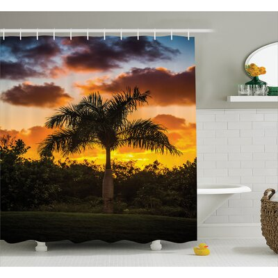 Palm Tree Silhouette Scene at Sunset Twilight Tranquility in Nature Image Shower Curtain Set Size: 84 H x 69 W