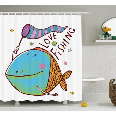 Kids Cute Large Fat Fish Holding a Flag with Love Quote Humor Fun Nursery Theme Shower Curtain Set Size: 84 H x 69 W