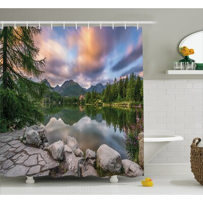 Scenery House Idyllic View with Tree on Still Lake Surrounded by Mountains and Moody Sky Shower Curtain Set Size: 75 H x 69 W