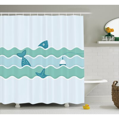 Fish Tail and Starfish Swimming in Flat Waves Submarine Comic Illustration Shower Curtain Set Size: 84 H x 69 W