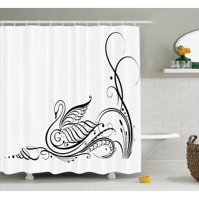 Animal Swan in River Shower Curtain Set Size: 70 H x 69 W