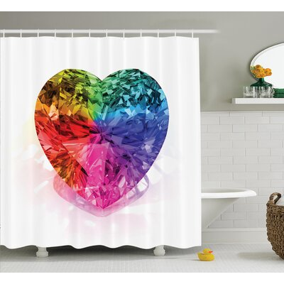 Love Heart Colorful Shower Curtain Set Size: 84 H x 69 W