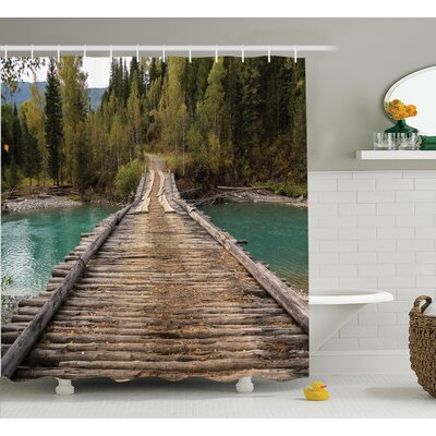 Rustic Decor River Pine Forest Shower Curtain Set Size: 70 H x 69 W