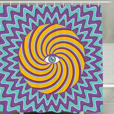 Third Eye Symbol inside Hypnotic Spiral Circles Trippy Lines Mystic Hippie Boho Shower Curtain Set Size: 70 H x 69 W