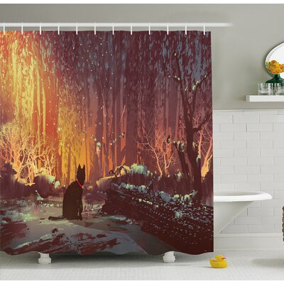 Surreal Lost Black Cat Deep Dark in Forest with Mystic Lights Picture Shower Curtain Set Size: 84 H x 69 W