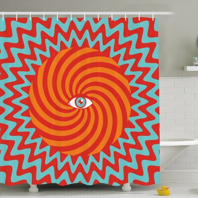 Inner Eye in Center of Spiral Lines with Concentric Circle Pattern Hypnotic Art Shower Curtain Set Size: 84 H x 69 W