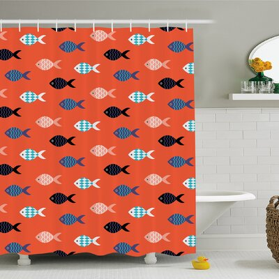 Fishes Motif Marine Sea Underwater Creature  Aquarium Ornate Forms Shower Curtain Set Size: 70 H x 69 W