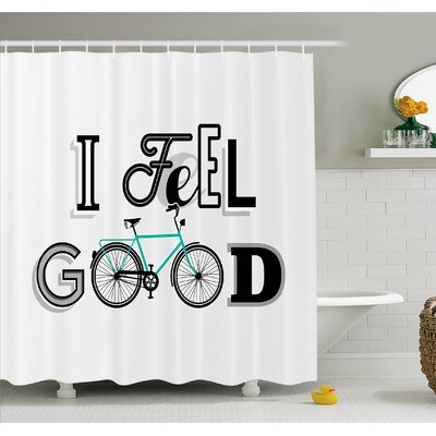 Motivation Quote with Old Bicycle Exercise Sports Leisure Philosophical Image Shower Curtain Set Size: 84 H x 69 W
