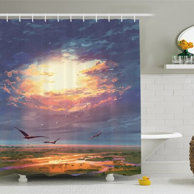 Golden Sun Beams Break through Storm Clouds Skyline Flying Gulls Shower Curtain Set Size: 70 H x 69 W