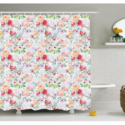 Flower Colorful Watercolor Effect Spring Flowers with Leaves English Country Design Shower Curtain Set Size: 75 H x 69 W