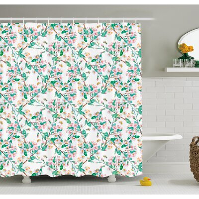 Flower Cherry Blossoms Pattern with Bumble Bees Japanese Spring Themed Chic Print Shower Curtain Set Size: 75 H x 69 W