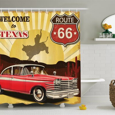 Welcome to Texas Signboard Poster with Cadillac Art Car Cowboys Town Rodeo Decor Shower Curtain Set Size: 84 H x 69 W