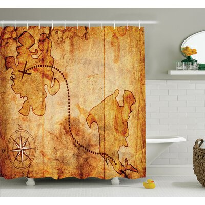 Compass Treasure Map Shower Curtain Set Size: 84 H x 69 W