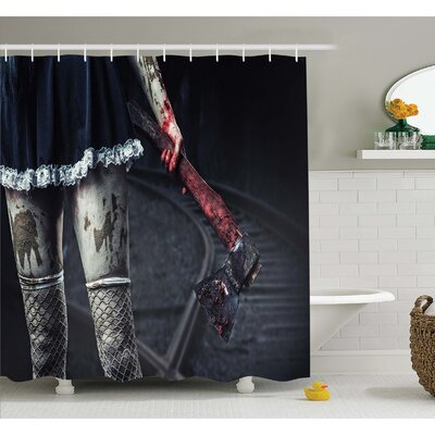 Horror House Dark Underground Tunnel in Minery Spooky Mystery Cave Ground Surface Photo Shower Curtain Set Size: 75 H x 69 W
