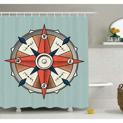 Hoffman Compass Cruise Grunge Shower Curtain Set Size: 84 H x 69 W