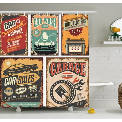 Nostalgic Art Auto Service Garage Funk Style Highway Logo Repair Road Grunge Decor Shower Curtain Set Size: 75 H x 69 W