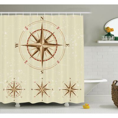 Hoffman Compass Nautical Retro Shower Curtain Set Size: 75 H x 69 W