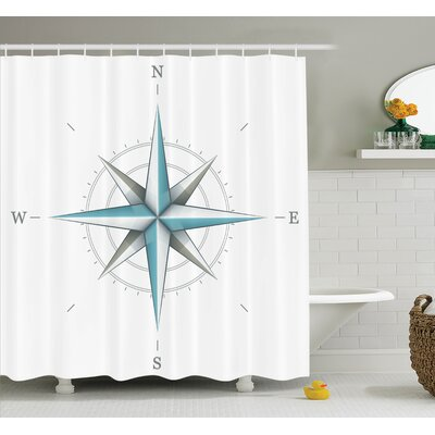 Hoffman Compass Antique Wind Rose Shower Curtain Set Size: 84 H x 69 W